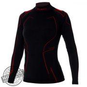 BRUBECK® COOLER nyári női hosszú ujjú motoros aláöltöző felső fekete-piros
