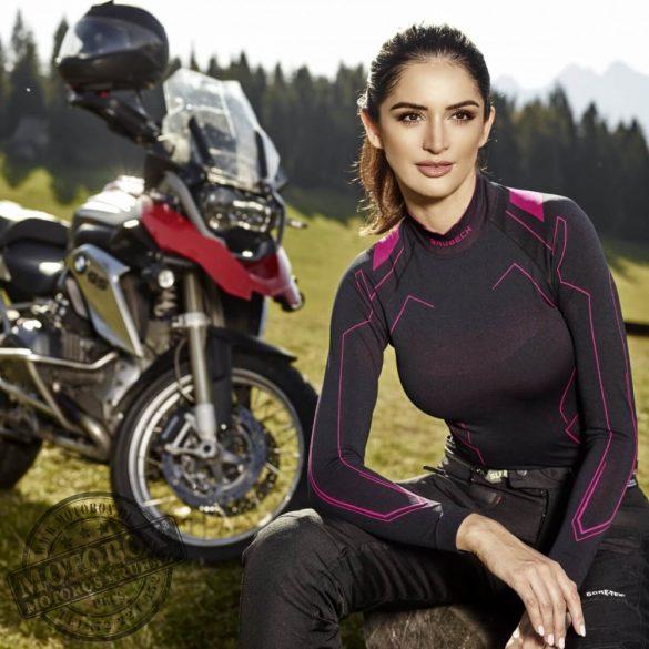 BRUBECK® COOLER nyári női hosszú ujjú motoros aláöltöző felső fekete-pink