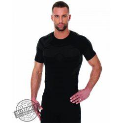 BRUBECK® DRY Rövid ujjú férfi felső grafit/fekete
