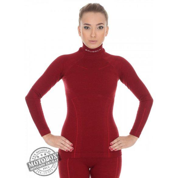 BRUBECK® EXTREME WOOL Merinó gyapjú női aláöltöző felső burgundi