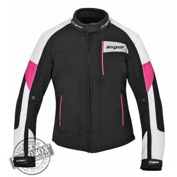 SIXGEAR Joyce női motoros textildzseki fekete fehér pink - Motobox ... 89e7063fd4